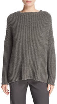 Vince Ladder-Stitched Funnel-Neck Cashmere-Blend Sweater, Charcoal