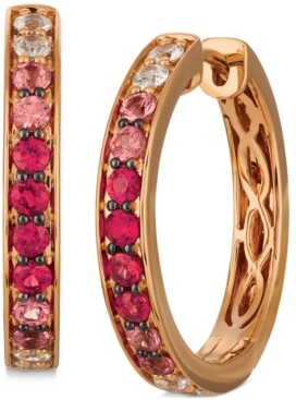 LeVian Le Vian Pink Ruby (3/4 ct. t.w.) & White Sapphire (3/8 ct. t.w.) Ombre Small Hoop Earrings in 14k Rose Gold, 0.79""