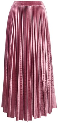 Valentino Pleated Velour Midi Skirt W/ Logo Detail