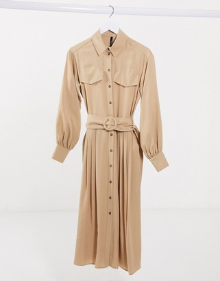 Palones Pleated Shirt Dress in tan