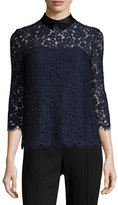 Rachel Zoe Oliver Floral-Lace Collared Top, Navy