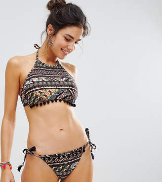 New Look Tribal Print Pompom Bikini Bottoms-Multi