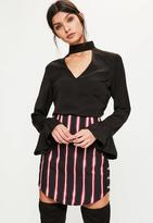 Missguided Tall Black Choker Neck Frill Cuff Blouse, Black