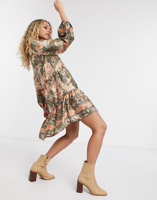 Object tiered smock dress in paisley print