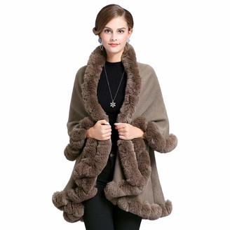 LIULIFE Women's Cape Poncho Faux Fox Fur Collar Knitted Cardigan Coat Double Layer Medium Length Cloak Autumn Winter Loose Shawl