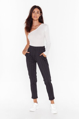 Nasty Gal Womens On the Stripe Track Pinstripe High-Waisted Trousers - black - 10