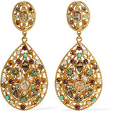 Ben-Amun Gold-Plated Crystal And Stone Clip Earrings