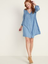 Old Navy Pintucked Button-Front Chambray Swing Dress for Women