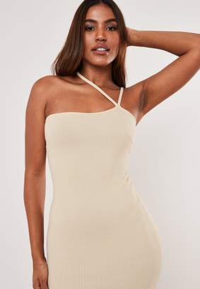 Missguided Stone Asymmetric Strap Ribbed Midaxi Dress