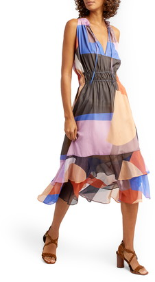 Rebecca Minkoff Jasmine Colorblock A-Line Midi Dress