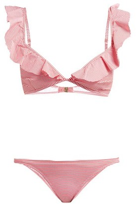 Melissa Odabash Brazil Ruffled Striped Bikini - Womens - Red Print