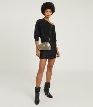 Reiss Marina - Metallic Knitted Dress in Black/gold