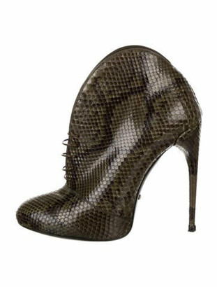 Gucci Snakeskin Animal Print Lace-Up Boots Green