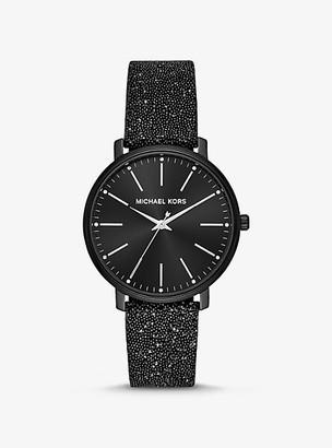 Michael Kors Pyper Black-Tone Swarovski Crystal Embellished Watch - Black