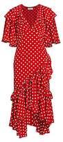 Michael Kors Women's Polka Dot Ruffle Silk Dress