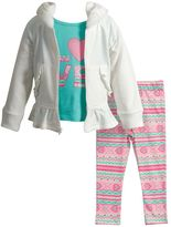 "Youngland Toddler Girl LOVE"" Tee, Jacket & Patterned Leggings Set"