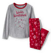 Lands' End Toddler Girls Fleece Graphic PJ Set-Winter Wonderland