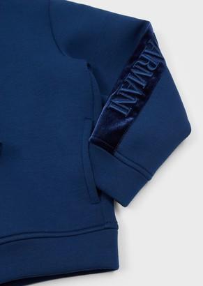 Emporio Armani Zipped Hooded Sweatshirt With Velvet Logo Band