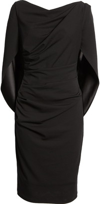 Betsy & Adam Drape Back Scuba Crepe Cocktail Dress
