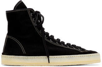 Lemaire Black Canvas High-Top Sneakers