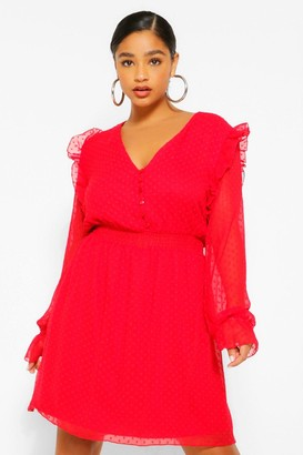 boohoo Plus Dobby Mesh Shirred Waist Skater Dress