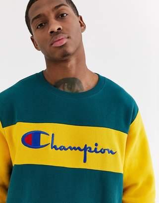 Champion Reverse Weave color block crewneck sweatshirt in teal/yellow-Blue