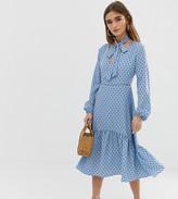 Glamorous Petite midi dress with neck tie in polka dot