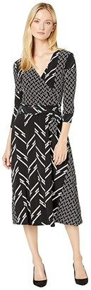 Lauren Ralph Lauren Printed Matte Jersey Carlyna 3/4 Sleeve Day Dress (Black/Dark Fern/Colonial Cream) Women's Clothing