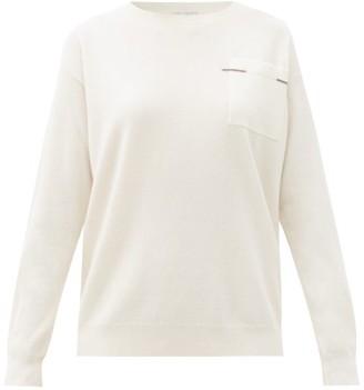 Brunello Cucinelli Monili-trim Pocket Cashmere Sweater - Ivory