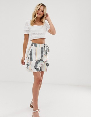 Influence frill mini skirt in stripe