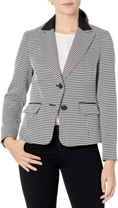 Kasper Women's Petite 2 Button Notch Collar Textured Houndstooth Jacket