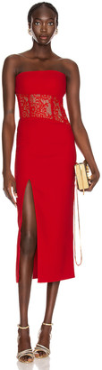 Rasario Asymmetric Corset Midi Dress in Red | FWRD