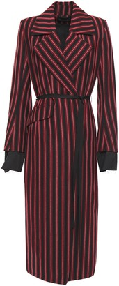 Ann Demeulemeester Belted Striped Wool And Cotton-blend Coat