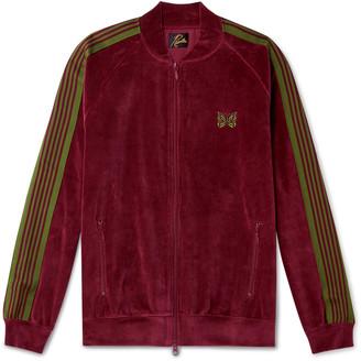Needles Logo-Embroidered Webbing-Trimmed Cotton-Blend Velour Track Jacket