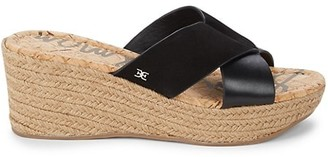 Sam Edelman Rora Leather & Suede Wedge Espadrille Sandals