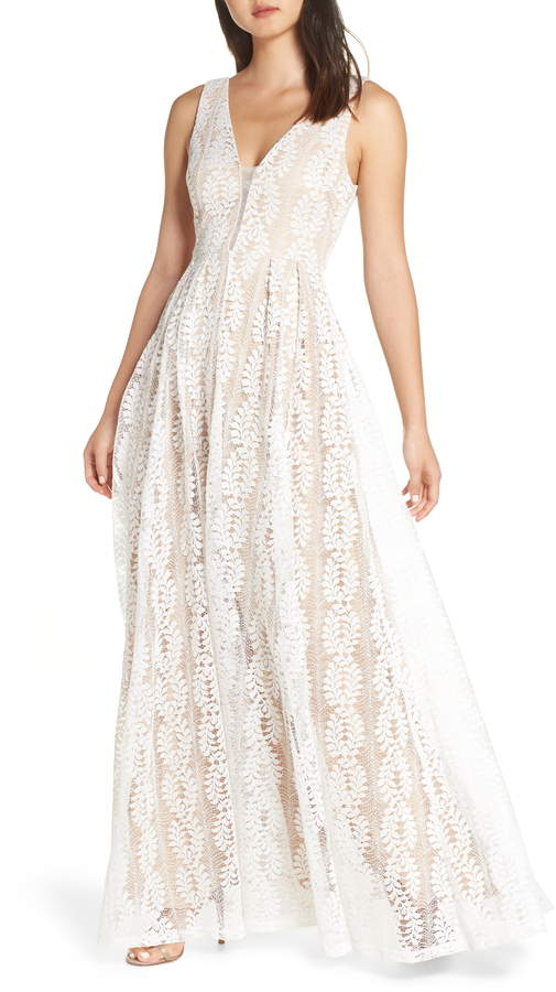 Lulus Eliana Lace V-Neck Gown