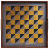 Folk Art Game Board - Blue Checker