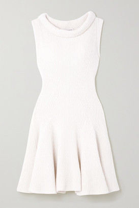 Alexander McQueen Ribbed Wool Mini Dress - Off-white