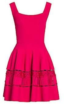 Alexander McQueen Women's Lace Panel Fit-&-Flare Knit Dress