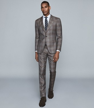 Reiss Sensation - Check Wool-blend Trousers in Charcoal
