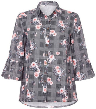 Yumi Check And Flower Blouse With Frill Sleeves