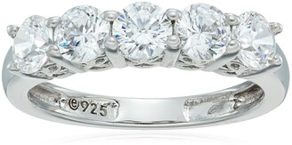 Amazon Collection Platinum-Plated Sterling Silver Round-Cut 5-Stone Ring made with Swarovski Zirconia (1.25 cttw) Size 6