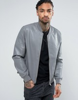 Asos Leather Look Bomber Jacket In Gray