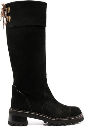 See by Chloe Lace-Back Knee-High Boots