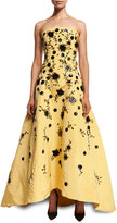 Oscar de la Renta Strapless Beaded Silk Faille Gown, Yellow