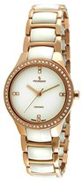 Peugeot Women's PS4904WR Swiss Ceramic Rose Gold Crystal Bezel Link Watch