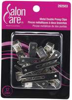 Salon Care Metal Double Prong Curl Clips