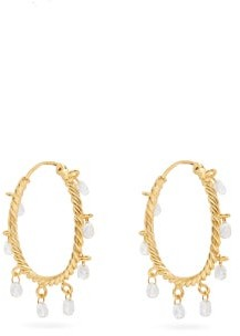 Patcharavipa - Butterfly Diamonds & 18kt Gold Hoop Earrings - Womens - Gold