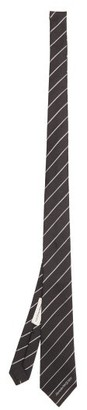 Alexander McQueen Striped Silk Tie - Black
