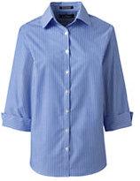 Lands' End Women's Regular 3/4 Sleeve Pattern Broadcloth Shirt-Rich Red